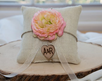 Pink Ranunculus flower custom ivory burlap ring bearer pillow  shabby chic with engraved heart  initials... many more colors available