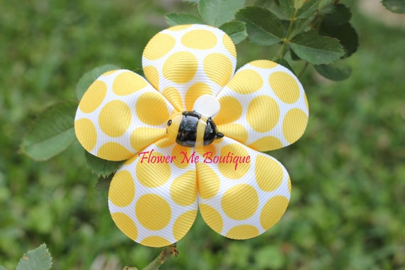 Hair Flower, Yellow Bumble Bee birthday party, Hair Clip, Hair Bow, Baby Toddler, Photo Prop, Spring, Easter, Polka Dot, Hair Flowers, Baby