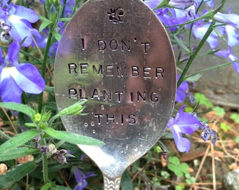 Hand Stamped Silver Garden Spoons, Garden Spoons, Garden Markers, Herb Garden Markers, Christmas Gift, Hostess Gift, Gift for the Gardener
