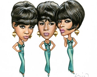 The Supremes - Original Published Artwork For Motown Music Trade Catalog - Signed.