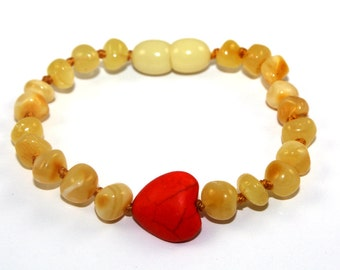 NATURAL BALTIC AMBER Baby Teething Bracelet or Anklet