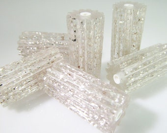 8 Vintage 25x12 Clear Silver Glitter Corrugated Lucite Tube Beads Bd1022