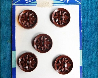 5 Vintage Cut Out Brown Buttons on Card