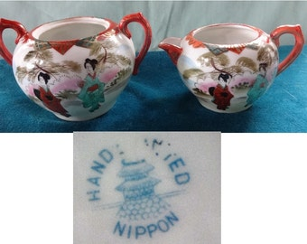 Vintage Nippon Creamer and Sugar Bowl Pretty