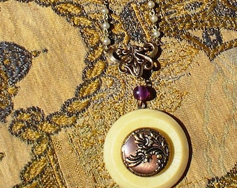 SALE:  Vintage Pearl Rosary and Button Necklace Jewelry Yellow and Mauve Flowers