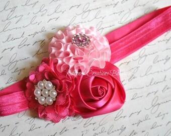 Newborn Headband, Baby Headband, Baby Girl Headband, Toddler Headband, Infant Headband, Girls Headband-Pink and Hot Pink Flower Headband