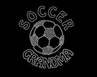 Rhinestone Transfer Soccer Ball with Grandma Iron On DIY Bling 34189