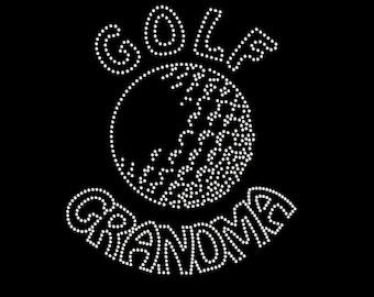 Golf Grandma Rhinestone Transfer - Iron On DIY Bling - T Shirt Transfer 34205