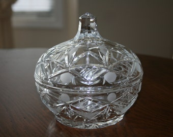 Vintage Cut Crystal Covered Candy Dish Hollywood Regency Traditional