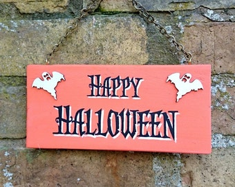 Halloween Wooden Hanging Sign Hand Painted Happy Halloween Party Decoration Art Decor