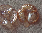 Two Jeannette Marigold Carnival Glass Nut or Candy or Snack Plates