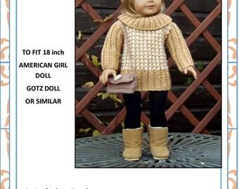 25 American Girl Doll.Houndstooth Sweater Dress PDF Knitting Pattern