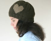 Heart Knit Hat in Brown - Beret - Beanie - Fall Winter Fashion - Women Teens Accessories