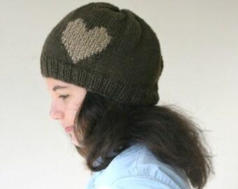 Heart Knit Hat in Brown - Beret - Beanie - Fall Winter Fashion - Women Teens Accessories