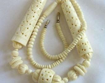 Vintage Pierced Bone Necklace 1970s Ethnic Jewelry Massive Statement Piece