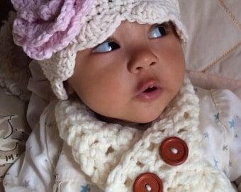 Baby Flower Hat - crochet- scalloped edge- newborn- girl-photo prop
