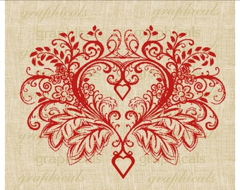 Elegant red heart Valentine Instant Digital download graphic image for Iron on fabric transfer burlap decoupage pillow card totes No 1932