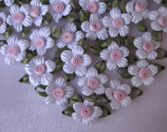White Satin Flower Appliques Llight Pink Ribbon Center with Green Leaves for Crafting, Sewing, Hair Pins, 1 inch, 20 pcs