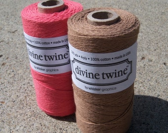 TWO FULL SPOOLS - Bakers Twine - Divine Twine - 100% Cotton - Coral Pink and Brown Sugar Pack - Two Colors - 240 Yards Each