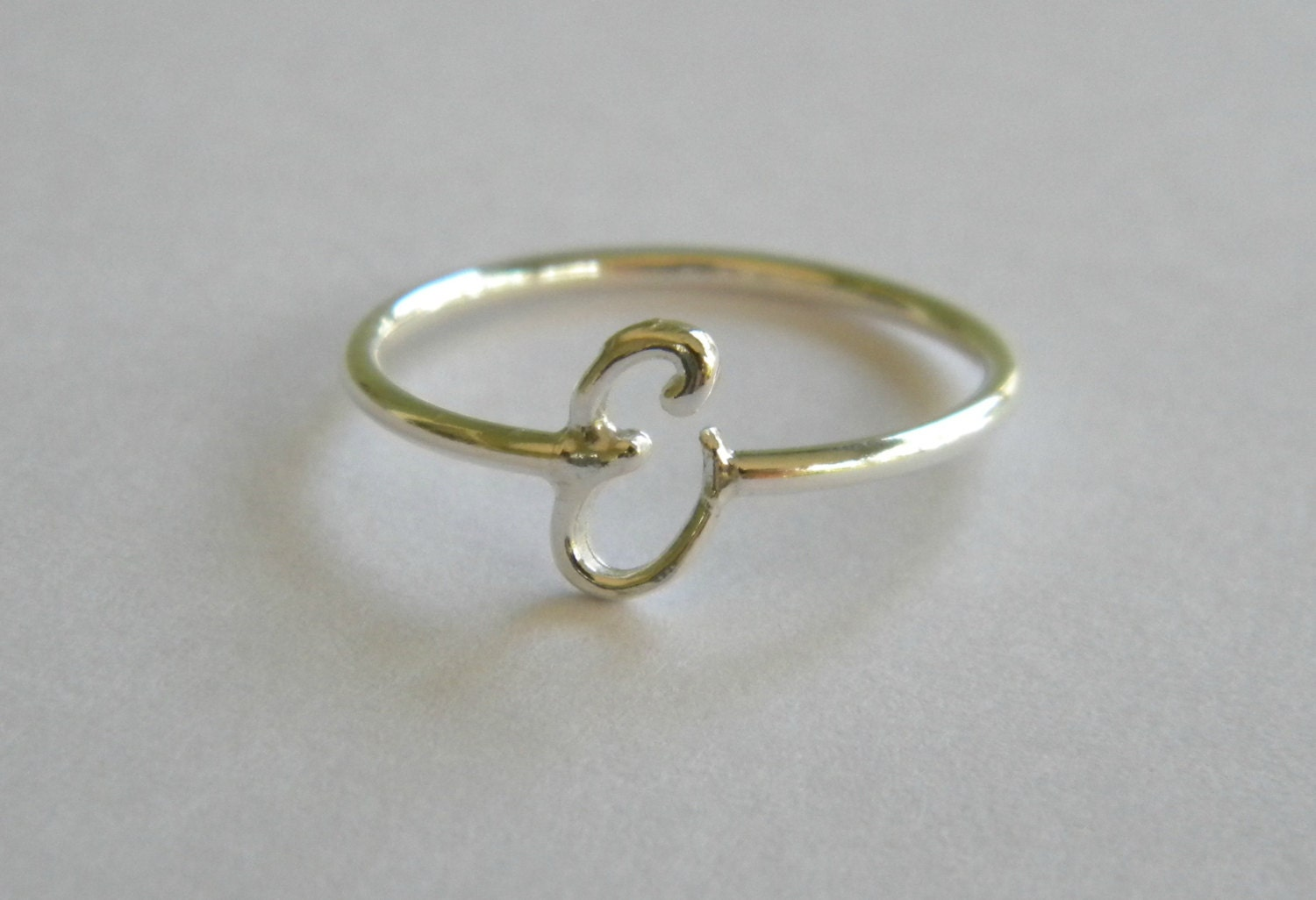 Handcrafted silver 925 letter e ring for Letter e ring