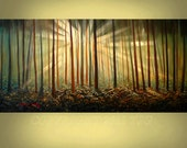 ORIGINAL PAINTING Landscape Sunset Trees 24x48 Handmade Art and Collectibles  By Thomas John