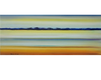 Very Large 24X60 Original Abstract Painting Ready to Hang Seascape Art  By Thomas John