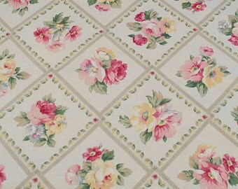 Fabric-Pastel Flowers, Cranston Home Fashion Print,100% Cotton, Vintage, Discontinue, Keepsake, Home Decor/Quilting Fabric,19 in.