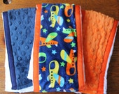 Set of 3 Matching Burp Cloth with Plane Print Minky Coordinating Minky and Grossgrain Ribbon edging, Baby Shower Gift, Baby Boy Gift