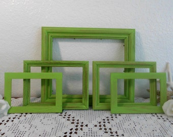 Lime Green Frame Set Bright Shabby Chic Beach Cottage Tropical Island Photo Home Decor Picture Destination Wedding Collection Gift For Her