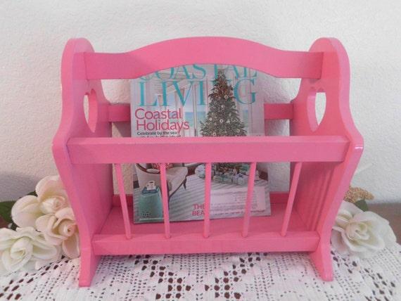 Magazine Rack Pink Shabby Chic Wooden Rustic By Elegantseashore