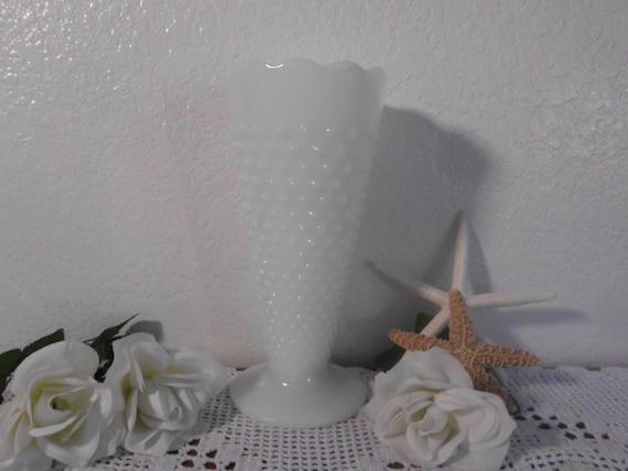 Large White Milk Glass Vintage Wedding Flower Vase Centerpiece