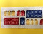 Cross Stitch Card Building Blocks Lego Style Greeting