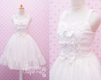 White Chiffon Dress - Princess Bride Wedding Bridesmaid - Classic Lolita - Lacing Ribbon Bow Frill Ruffle Tierred Gown