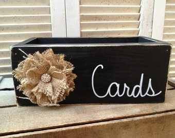 Distressed Black and White Wedding Cards Box Wooden Rustic Wedding Cards Holder