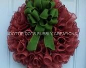 Brick Red, Terracotta , Sweet Potato Spiral Burlap Wreath