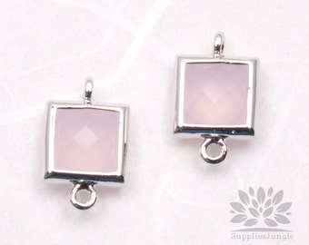 F140-S-IP// Rhodium Framed Ice Pink Faceted Square Glass Connector, 2 pcs
