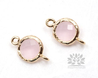 F145-G-IP// Gold Framed Ice Pink Faceted Round Glass Connector, 2 pcs