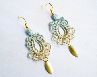 Blue and Gold Lace Earrings