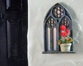 1/12th Gothic Window Mirror with a Potted Red Geranium
