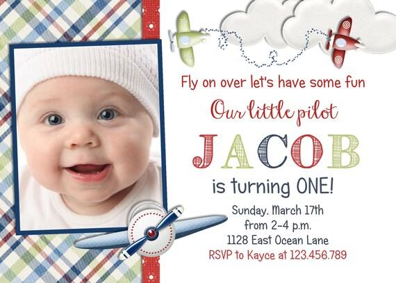 Airplane Pilot Boy Birthday Invitation