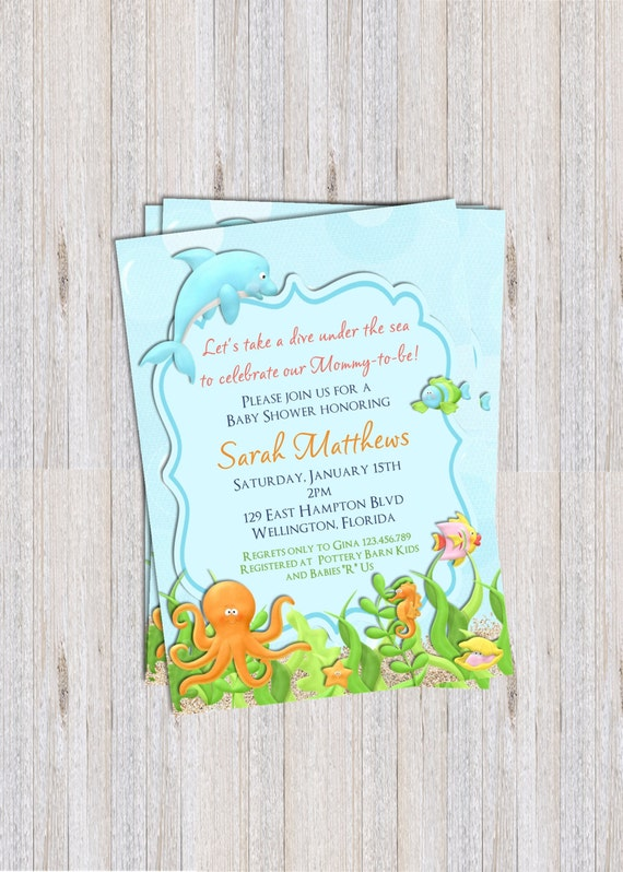 under the sea baby shower invitation sea animals printable invite