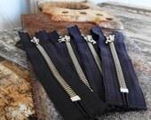 Metal Zippers- 5.5 inch14 cm closed bottom ykk nickel teeth zips- (4) pieces - Charcoal  Zippers