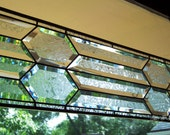 Long, narrow, traditional style, glue chipped bevel stained glass panel