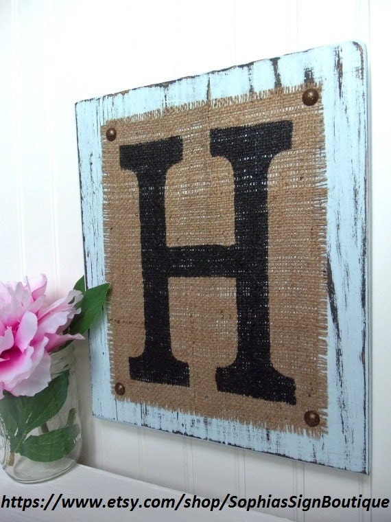 Burlap Monogram Letter Sign, Powder Blue, Your choice of letter, Letters a,b,c,d,e,f,g,h,i,j,k, or any letter of the alphabet