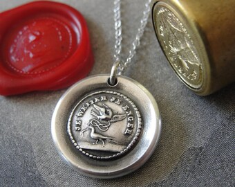 Wax Seal Necklace love motto Far Apart Close at Heart - antique wax seal charm jewelry from RQP Studio