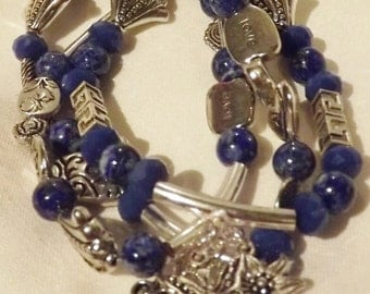 Celebrate Any Occasion  with this Eclectic Carnilian or Dark Blue Jade & Sodilite and Silver Charm Bracelet.  Made to Order.