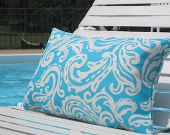 """Outdoor Pillows, Blue Paisley Pillow, Outdoor chair Lumbar,Pillows, Lumbar Pillows,12""""x18"""" inch decorative pillow,patio decor"""