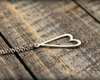 Upside Down Heart Necklace, Available in Silver or Gold