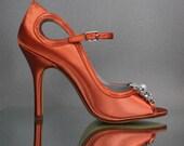 Custom Wedding Shoes -- Burnt Orange Mary Jane Peep Toe Wedding Shoes with Rhinestone and Pearl Flower Adornment