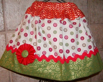 Girls Twirl Skirt Custom..Buttons and Scrolls Christmas..Available in 0-12 months, 1/2, 3/4, 5/6, 7/8, 9/10 Bigger Sizes Available